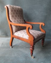 A Mahogany William IV Scroll Arm chair