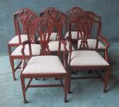 Set of 6 + 2 Shoolbred Hepplewhite Style Camel Back Chairs