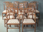 A Set of 12 (10 + 2) Mahogany Chippendale Style Chairs