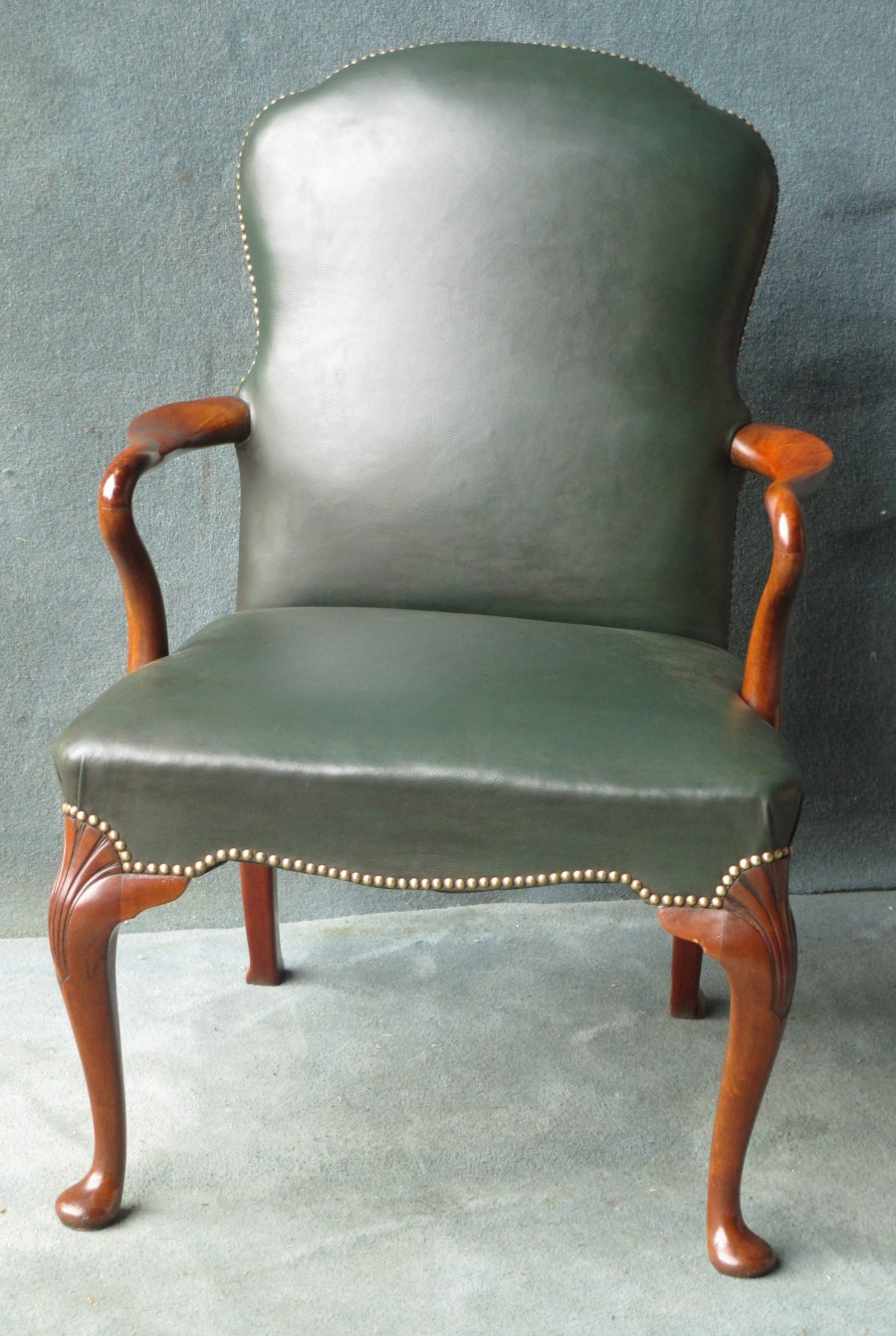 Queen Anne style desk arm chair in hide