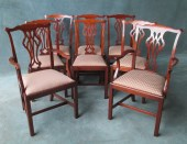 A Set Of 6 + 2 Mahogany Chippendale Style Chairs