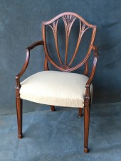 Set Of 6 + 2 Mahogany Hepplewhite Style Shield back Chairs