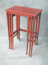 A Nest Of 3 Mahogany and Satinwood Tables