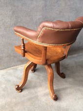 Buttoned Back Oak Revolving Desk Chair