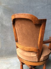 Circular Revolving Oak Desk Arm Chair in Suede