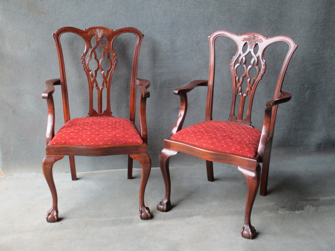 Pair of Chippendale Style Arm or Elbow Carver Chairs