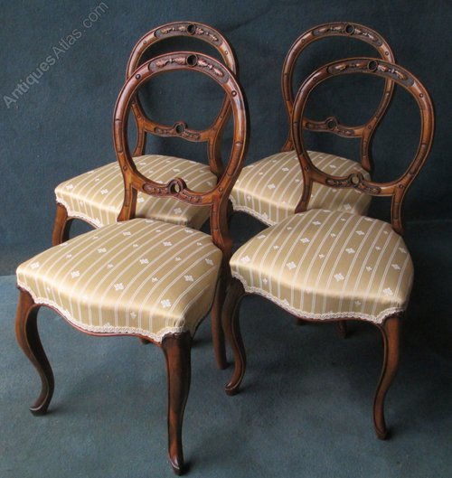 SET OF 4 VICTORIAN WALNUT BALLOON BACK CHAIRS